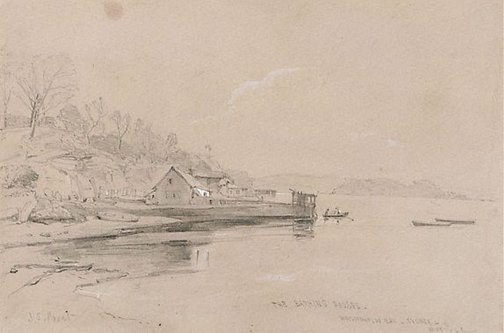 An image of The bathing houses, Woolloomooloo Bay by John Skinner Prout