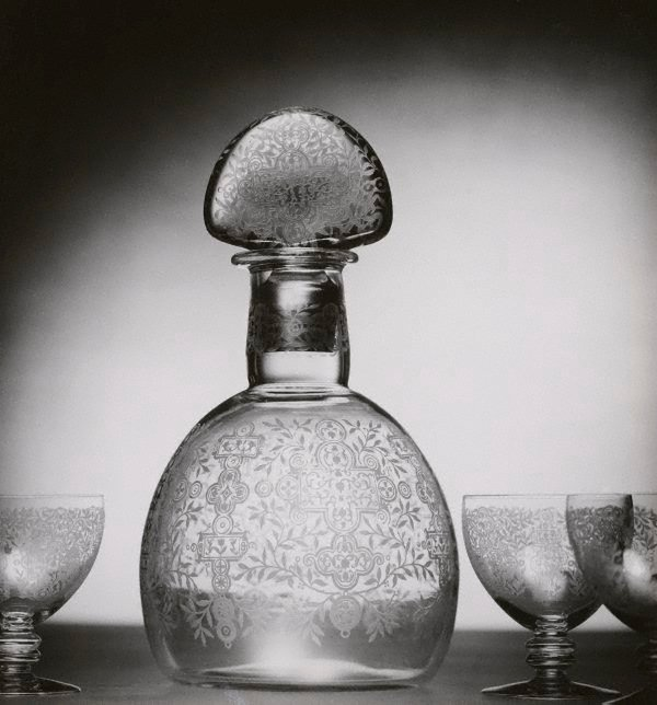 An image of Untitled (cut-glass decanter and glasses)