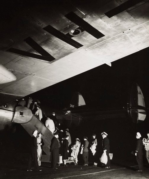An image of Untitled (passengers boarding airplane) by Max Dupain