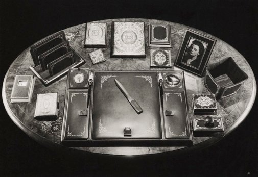An image of Untitled (desk with writing paraphernalia) by Max Dupain