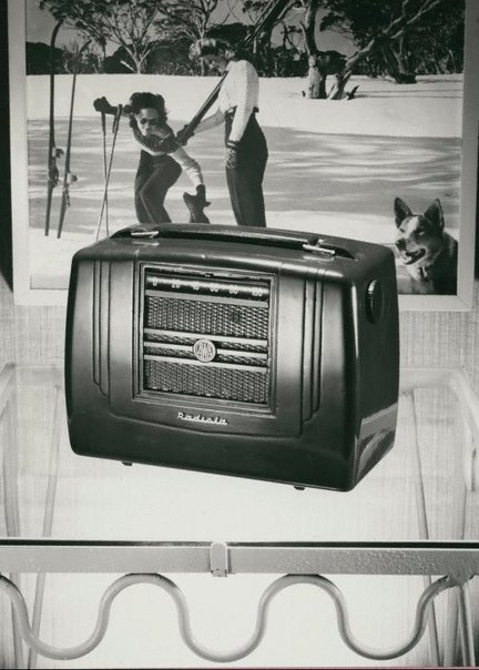 An image of Untitled (AWA wireless with a skiing photo in the background) by Max Dupain
