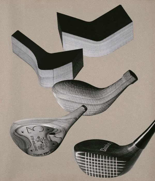 An image of Untitled (photo-montage of golf clubs and moulded wood pieces)