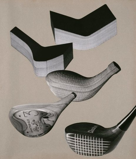 AGNSW collection Max Dupain Untitled (photo-montage of golf clubs and moulded wood pieces) circa 1951-circa 1952