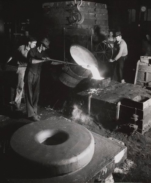An image of Untitled (pouring liquid steel) by Max Dupain