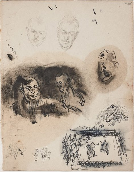 An image of (Portrait studies; head studies, boxing match) (Late Sydney Period) by William Dobell