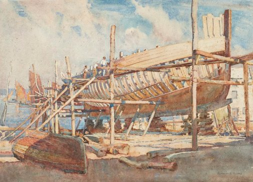 An image of Building the trawler by Herbert Kerr Rooke