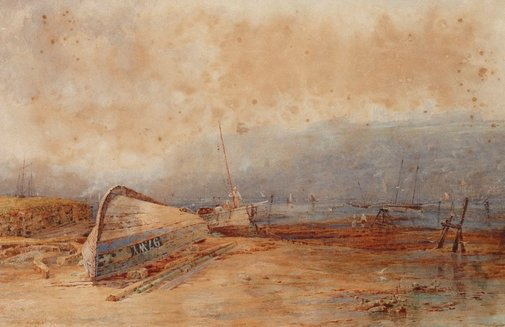 An image of The upper harbour, Whitby by Charles Edward Hern