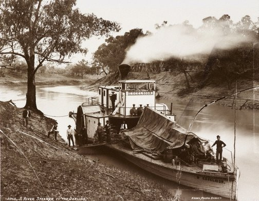 An image of A River Steamer on the Darling by Unknown, Kerry & Co