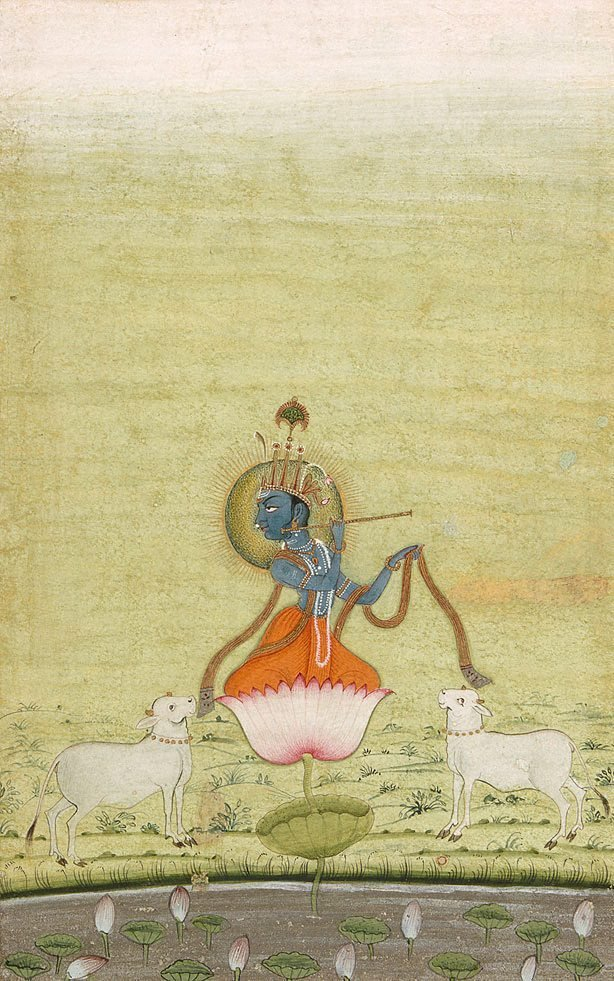 An image of Krishna as the divine cowherd (red border)