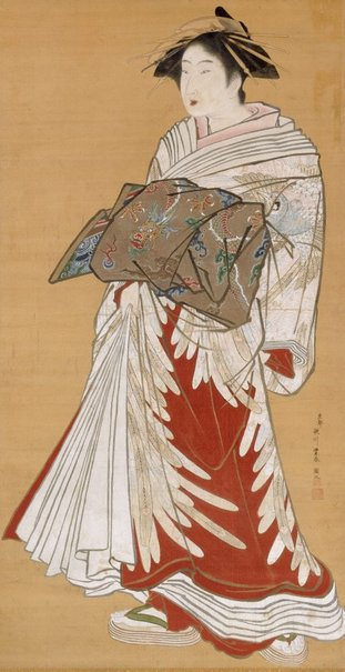 An image of Portrait of a standing courtesan by Utagawa Toyoharu