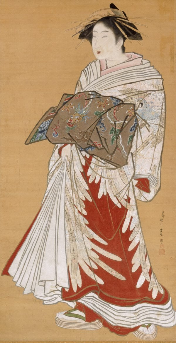 An image of Portrait of a standing courtesan