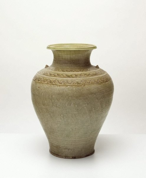 An image of Jar with three bands of decoration to shoulder by