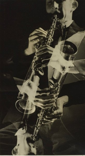 An image of recto: The saxophonist verso top: Untitled (fashion illustration) verso left side: Untitled (fashion illustration) verso right side: Untitled (fashion illustration) by Max Dupain