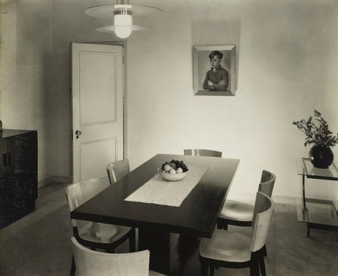 Alternate image of recto top: Untitled (woman seated with ruched sweater and ties) recto bottom: Untitled (woman with cigarette and 'ME' on white sweater) verso: Untitled (dining room with portrait of boy with crossed arms) by Max Dupain
