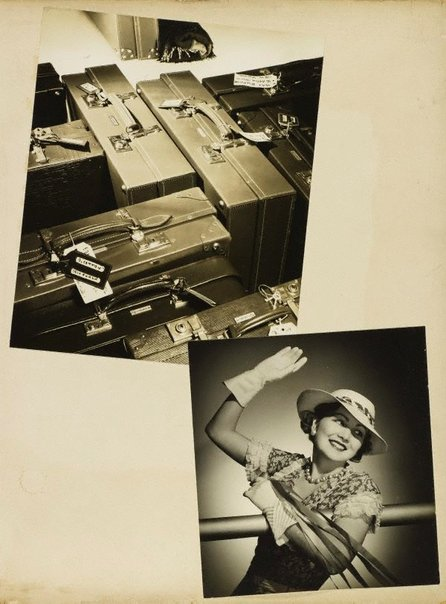 An image of recto top: Untitled (suitcases) recto bottom: Untitled (woman in white gloves waving) by Max Dupain