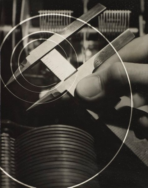An image of recto: Untitled (measuring tool photo-montage) verso: Untitled (woman in white skirt suit with fur trim looking at ball) by Max Dupain