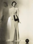 Alternate image of recto: Untitled (measuring tool photo-montage) verso: Untitled (woman in white skirt suit with fur trim looking at ball) by Max Dupain