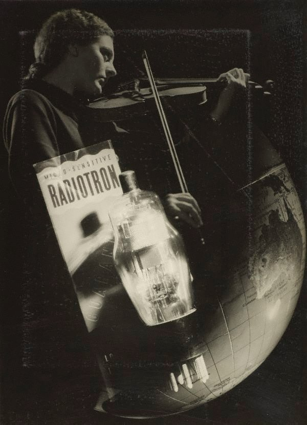 An image of recto: Untitled (violinist and radiotron photo-montage) verso top: Untitled (FISC world range globe) verso botom: Untitled (pots)