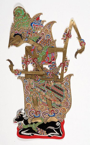 An image of Shadow puppet [wayang kulit] depicting Shiva by