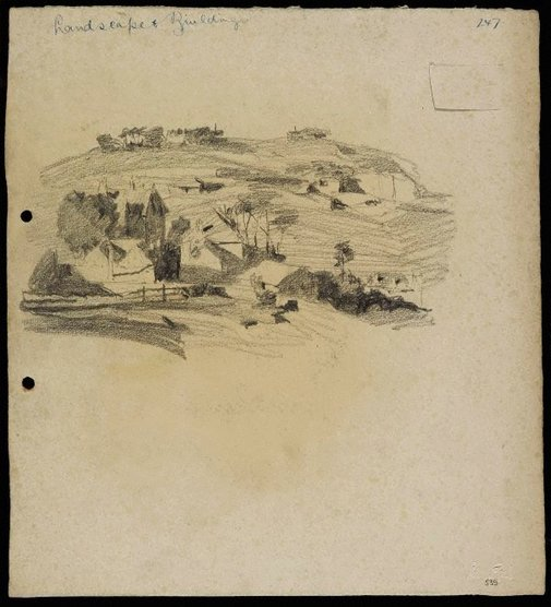 An image of recto: Landscape and buildings verso: Landscape and houses [upside down] by Lloyd Rees