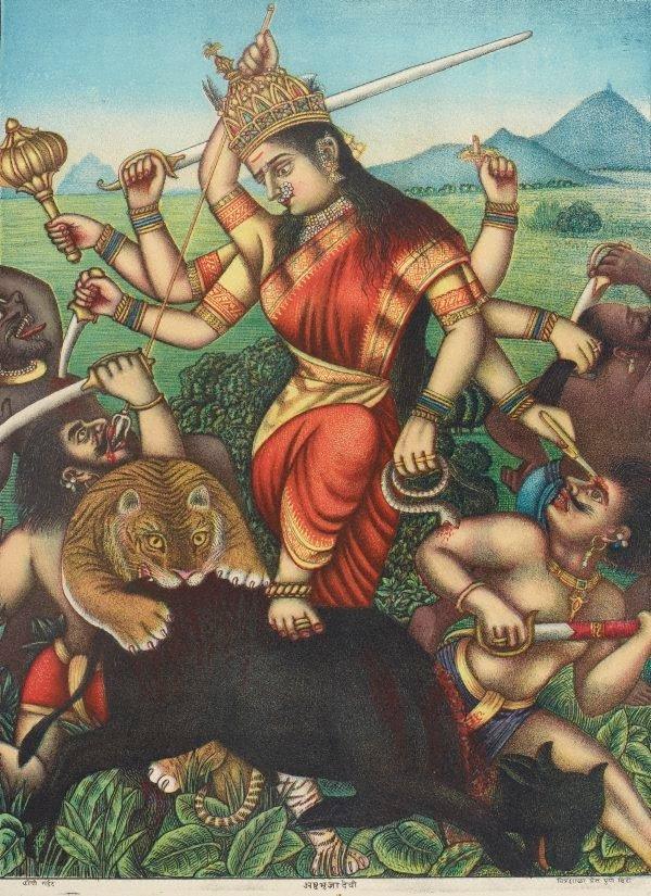 An image of Durga killing the buffalo demon