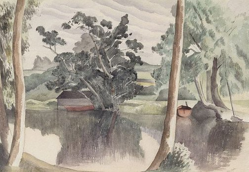An image of The boathouse by John Northcote Nash