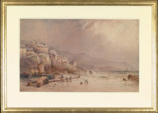 An image of On the coast of Cornwall by Edward William Cooke