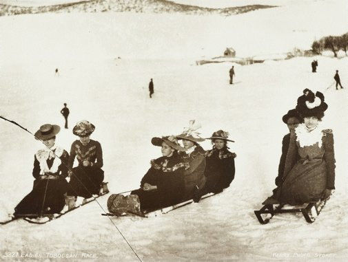An image of Ladies toboggan race by Unknown, Kerry & Co