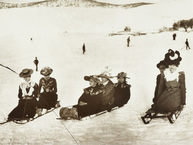 An image of Ladies toboggan race