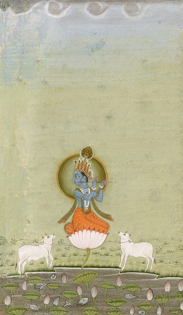 An image of Krishna as the divine cowherd (buff border)