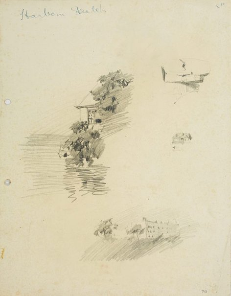 An image of recto: House at the Harbour's edge, Rock, House and Large building verso: Bent tree by Lloyd Rees