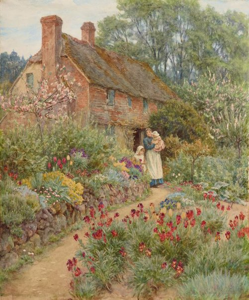 An image of Hillside cottage by Helen Allingham