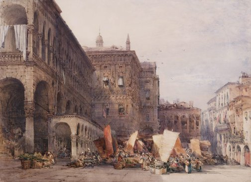 An image of Town hall and market place, Padua, early morning by William Callow