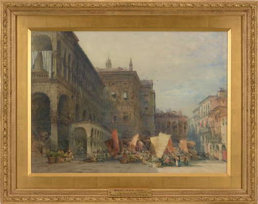 Alternate image of Town hall and market place, Padua, early morning by William Callow