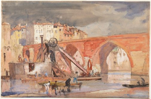 An image of Old Bridge (Pont Vieux), Albi, France by Sir Frank Brangwyn