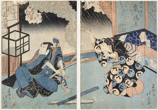An image of Actors: Arashi Rikan II and Seki Sanjûrô II in Hakkenden by Shunbaisai HOKUEI