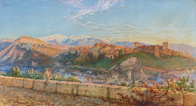 An image of General view of the Alhambra and the Sierra Nevada, Granada