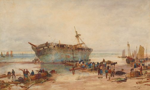 An image of Clearing a wreck, coast of Picardy by Thomas Bush Hardy