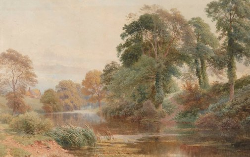 An image of A quiet stream (Mole River, Surrey) by Sutton Palmer