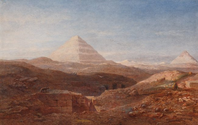 AGNSW collection Edward Angelo Goodall Near the pyramid, Sakkara 1874