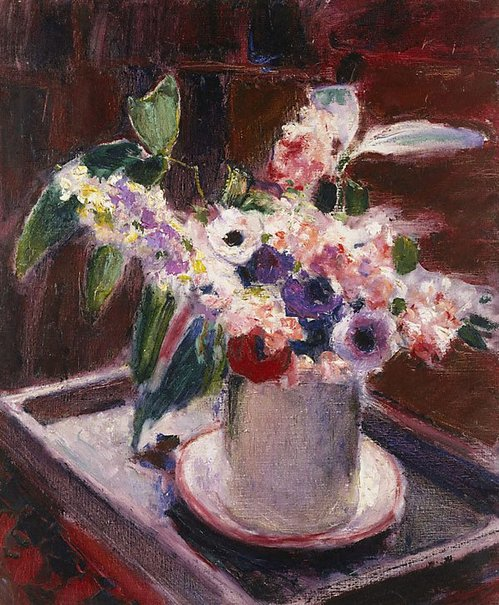 An image of Anemones and stock in white jug by Roderic O'Conor