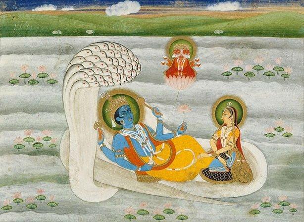 An image of Vishnu reclining on the serpent Shesha with Lakshmi in attendance