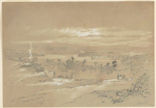 An image of Goat Island and North Shore from Balmain by John Skinner Prout