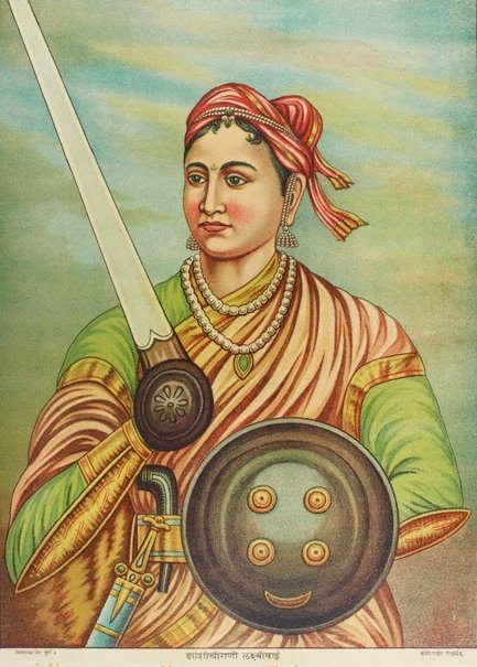 An image of Rani of Jhansi Lakshmi Bhai by Chitrashala Press
