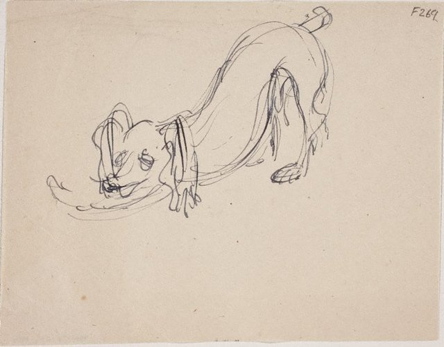 An image of (Dog stretching) (Late Sydney Period)