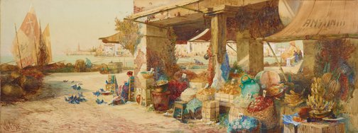 An image of Venetian fruit stall by George Charles Haité