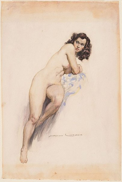 An image of The model by Norman Lindsay