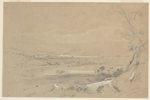 An image of Entrance to Lane Cove from Balmain, Sydney by John Skinner Prout