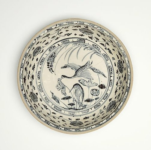 An image of Dish with design of two waterbirds by