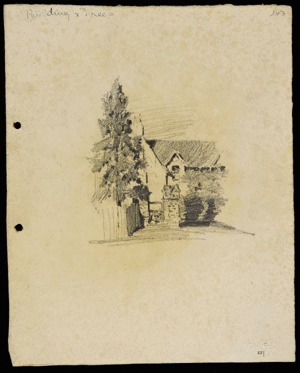 An image of recto: House with gabled roof - Roslyndale, Woollahra verso: Chimneys and tree (twice) [upside down]